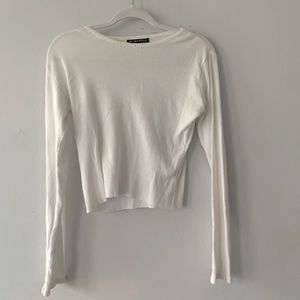 Brandy Melville White Tight Fit Long Sleeve Shirt